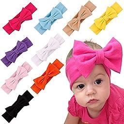 ZHW Baby Girl\'s Flower Headband Hairband Bow Big Flower (7 pack)