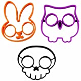 DRFUNDA Reuseable Non-stick Silicone Rabbit Skull Owl Egg Fried Frying Mould Breakfast Pancake Mold Ring(Pack of 3)