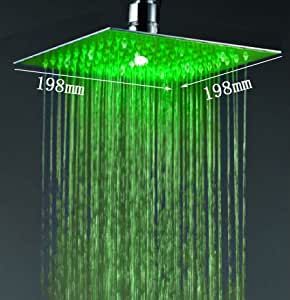 Cascada 8 Inch Ceiling Mount Square Multi Color LED Rain Shower Head Brushed