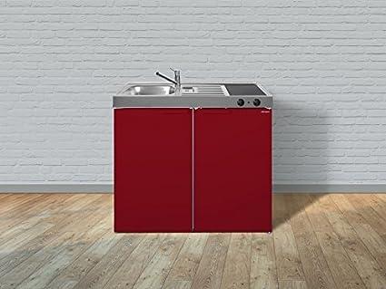 Stengel Mini Single Kuche 100cm Metall MK100 Becken links rot ohne Kochfeld