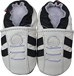 Carozoo baby boy soft sole leather shoes infant toddler kids slippers Sport Dark Blue Stripe White 12-18m