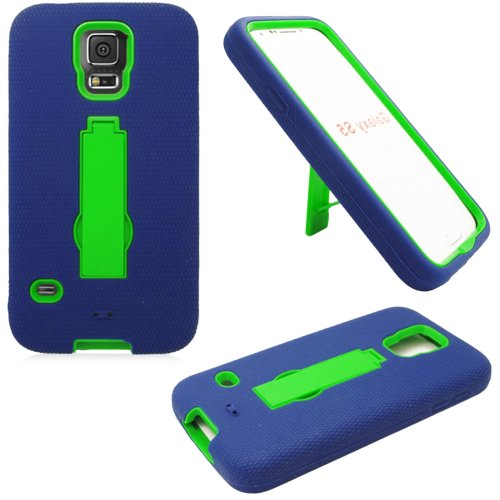 Mylife (Tm) Deep Navy Blue And Lime Green - Shock Suit Survivor Series (Built In Kickstand + Easy Grip Silicone) 3 Piece + 2 Layer Case For New Galaxy S5 (5G) Smartphone By Samsung (External Flex Silicone Bumper Gel + Internal 2 Piece Rubberized Snap Fitt