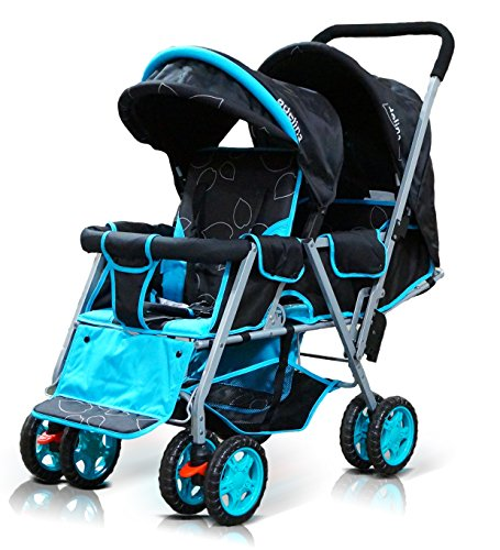 ADELINA-Designer-Double-Stroller-Blue-Leaves