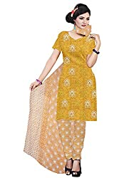 Mann Exclusive Women's Cotton Unstitched Dress Material (Rosy_001_Mustard)