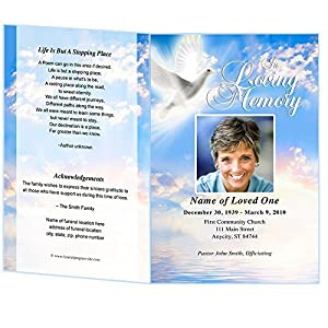 Peace funeral program template edits in for Free funeral program template microsoft publisher