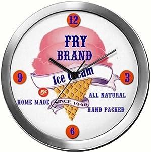 FRY 14 Inch Ice Cream Metal Clock Quartz Movement