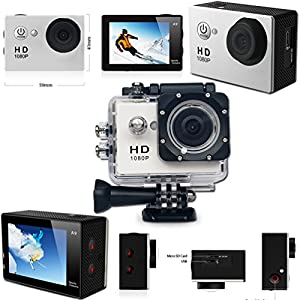 KoolCam AC200 HD 1080p Waterproof ACTION Camera / Camcorder for KIDS and Adults with a Super 140 degree Wide angle Lens KIT Includes: Handheld Extendable MONOPOD Pole + Hermetically Sealed Floating Bobber + Adjustable Bike Mount + Long Life Battery + USB