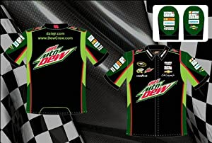 Dale Earnhardt Jr. Diet Mountain Dew Mens Black Embroidered Nascar Pit Crew Shirt by RacingGifts