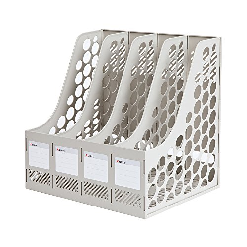 COMIX 4 Compartments Desktop File Book Magazine Sorter Holder Organizer Grey