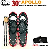 "New MTN Man Woman Kid Youth 30""Red Snowshoes with Nordic Walking Pole Free Bag"