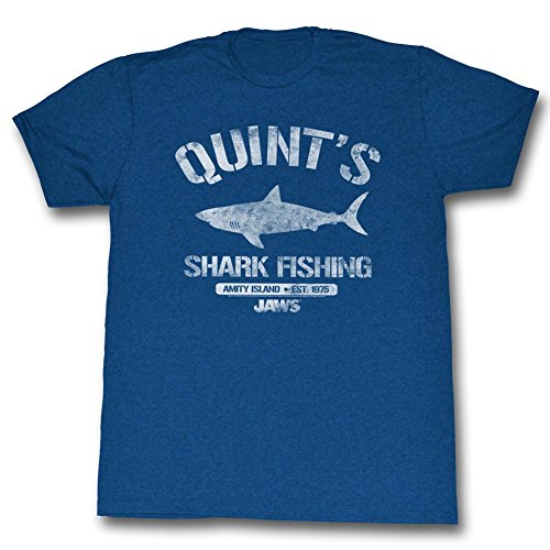 Jaws - Mens Quint's T-Shirt, Medium, Sea Blue Heather - S to XXL