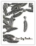 SPECIAL PROMOTION 20 FEATHER CHARMS FREE when you purchase this item 20 x Antique Silver Plated FEATHER Charms with Jump Rings included for Attachments