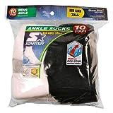 Starter Men's 10 Pair Ankle Socks (5 White & 5 Black) - Big & Tall 12W-15