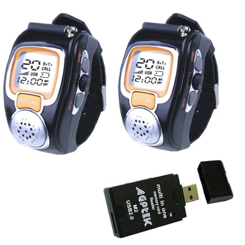 (2-Pack) State-Of-The-Art Fashionable Wristwatch Walkie Talkie Auto Channel Scan Spy Wrist Watch With Lcd Display And Auto Squelch Plus Agptek Usb2.0 All In One Card Reader