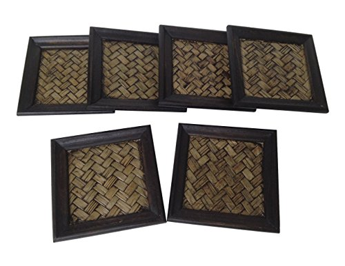 Wood For Décor Wooden Square Style Décor Elephant Saucer Mango With Bamboo Woven Small Dark Brown Oak Set of 6 pieces