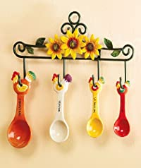 5-piece Rooster Measuring Spoon Set with Metal Flower Hanging Rack