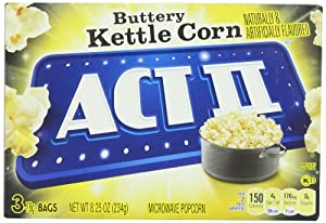Act II Popcorn, Kettle Corn, 3 Count (Pack of 12) by ACT II