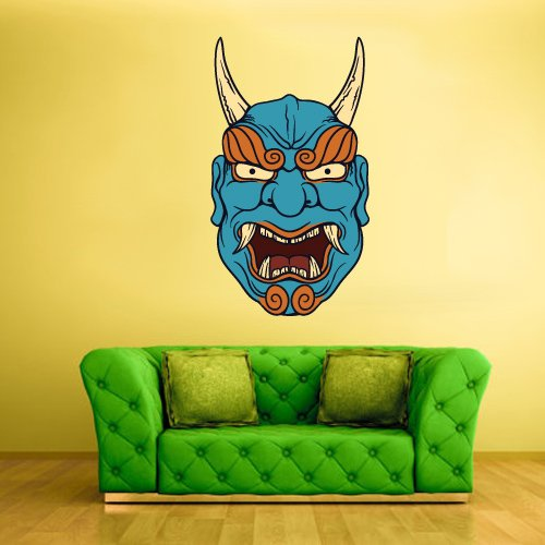 Full Color Wall Decal Mural Sticker Art Decor Asian Japan Japanese Chineese China Horror Ethnic Face Mask (Col215)