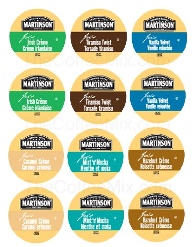 NEW! 12 K-cup Martinson JOE's Real cup K-cup Sampler! 6 New flavors - Tiramisu Twist, Vanilla Velvet, Mint N Mocha, Irish Cream, Hazelnut Cream, Carame Creme!