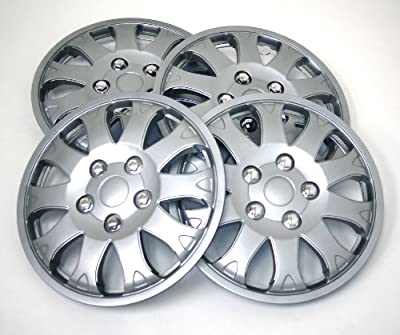 TuningPros WSC-719S14 Hubcaps Wheel Skin Cover 14-Inches Silver Set of 4