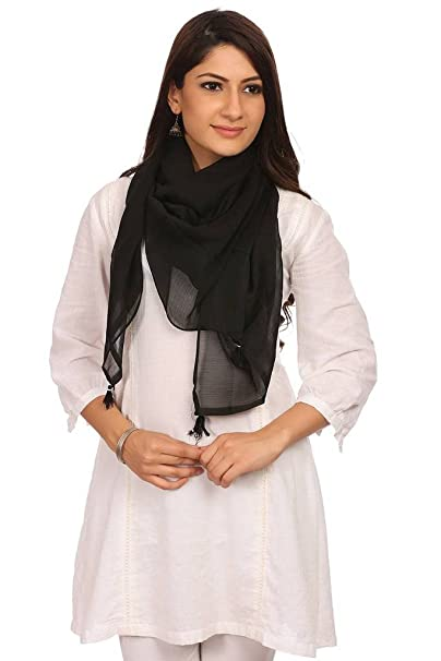 Biba Synthetic Dupatta (HIDE AND12175_Black_FREE) at amazon