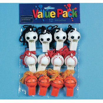 Sports Ball Whistles (12 per package) - 1