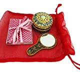 Indian Gift Lot Jewelry Box With Womens Cosmetic Pouches Mirror Home Decor Vintage Style Handmade Trinket Diary...