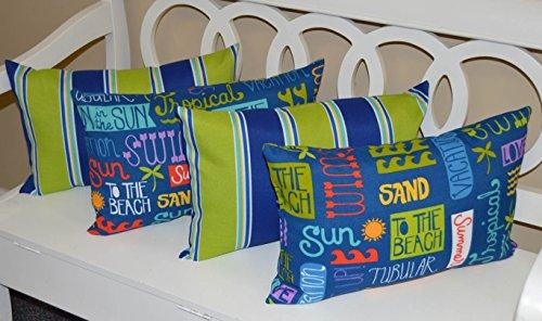 Set of 4 Indoor / Outdoor Decorative Lumbar / Rectangle Pillows - 2 Blue, Green Stripe & 2 Blue, Green, Yellow Summer / Beach Words