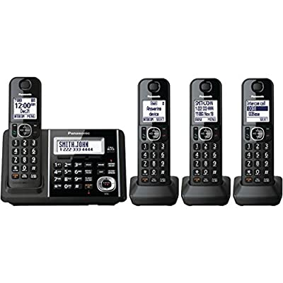 Panasonic Black Digital Cordless Phone And Answering Machine With 4 Handsets - KX-TGF344B
