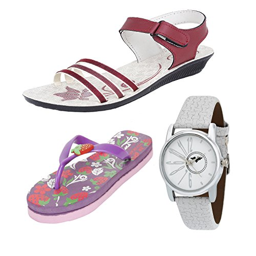 Bersache Women COMBO Pack of 3 With Slipper With Sandal & Watch