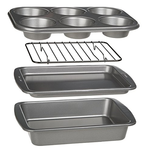 Ecolution Bakeins 4-Piece Toaster Oven Bakeware Set - PFOA, BPA, and PTFE Free Non-Stick Coating - Heavy Duty Carbon Steel (Small Baking Sheet Toaster Oven compare prices)
