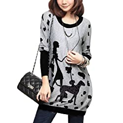 Woman Chic Round Neck Splice Long Sleeve Tunic Knitted Shirt by sourcingmap