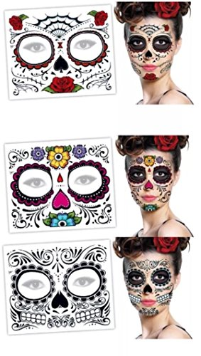 3 Day of the Dead Dia De Los Muertos Face Tattoos Sugar Skull Halloween Costume
