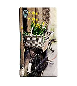 Omnam Basket Of Flower Lying On Back Of Bicycle Printed Designer Back Cover Case For Sony Xperia Z5