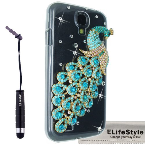 Elifestyle New 3D Crystal Transparent Flash Handmade Peacock Bling Crystal Case Cover for Samsung Galaxy S4 S IV i9500
