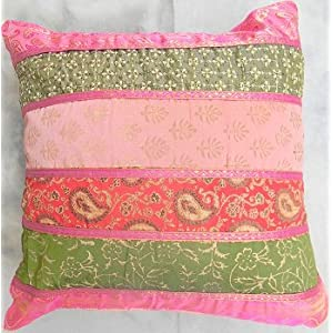 Pink and green cushion covers- set of 5