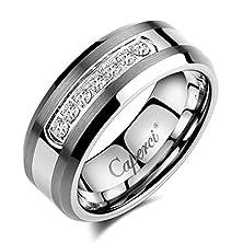 buy Caperci Men'S 8Mm Cz Diamond Tungsten Carbide Wedding Band Ring Size 11