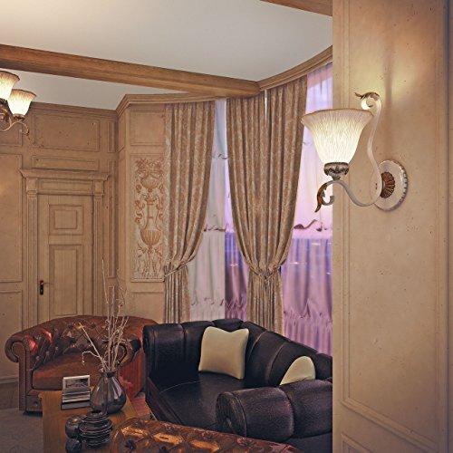 Applique style rustique, classique, armature en métal, plafonniers en verre brossé décoré avec des éléménts en polyrésine, style maison de campagne 1 ampoule non-incl. E27 1x60W 230V