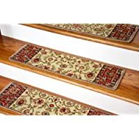 Dean Non-Slip Tape Free Pet Friendly Stair Gripper Carpet Stair Treads - Classic Keshan Antique Beige 31