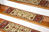 Dean Non-Slip Tape Free Pet Friendly Stair Gripper Carpet Stair Treads - Classic Keshan Antique Beige 31