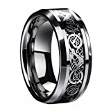 D&J Stainless Steel Celtic Dragon Mens Wedding Band Engagement Ring