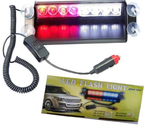 Zone Tech 8 Led Visor Dashboard Emergency Strobe Lights Red/White