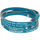 Serenity Prayer Turquoise Leather Recovery Wrap Bracelet, Wraps 4-5 Times Around Wrist