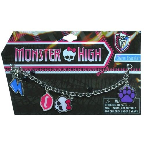Monster High Charm Bracelet with metal charms and jelly faceted beads - (Characters)