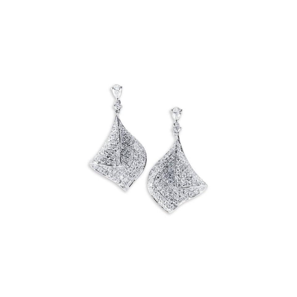 18K White Gold Modern Art Round Diamond Drop Earrings