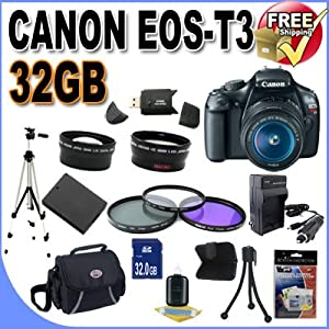Canon EOS Rebel T3 12.2 MP CMOS Digital SLR with 18-55mm IS II Lens (Black)+58mm 2x Telephoto lens + 58mm Wide Angle Lens (3 Lens Kit!!!) W/32GB SDHC Memory +Extra Battery/Charger+3 PIece Filter Kit+Case+Full Size Tripod+Accessory Kit