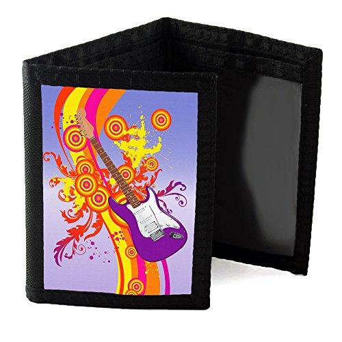 Mia Musica 10003, Chitarra, Progettato Nero Unisex Nylon Ripper Portafoglio Sublimazione portafoglio di base con Motivo Colorato.