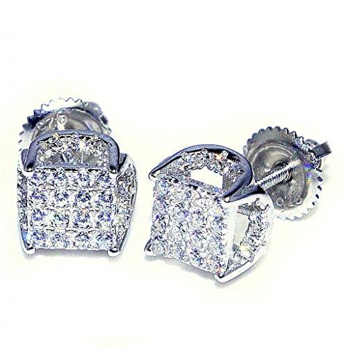Fashion Earrings Cubic Zarcon Pave Set Sterling Silver Screw Backs 7.5Mm Wide