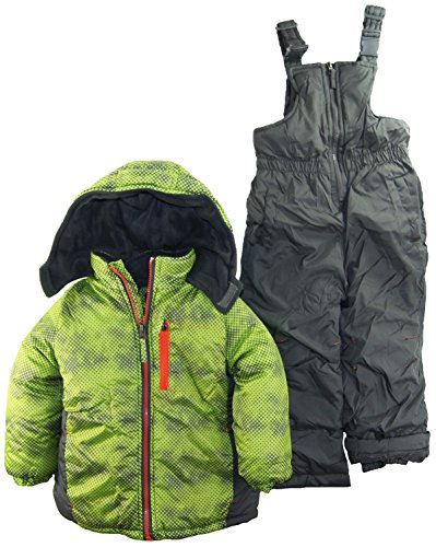 Ixtreme Little Boys 4-7 Color Block Two Piece Snowsuit Set, Lime, 5 front-1024791