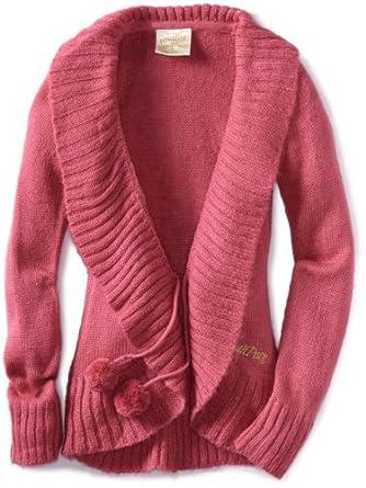 Southpole Big Girls' Front Ruffle Sweater, Dark Pink, Large